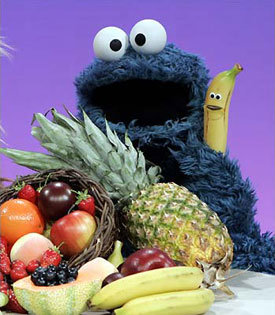 Cookie monster promoting fruit on TV